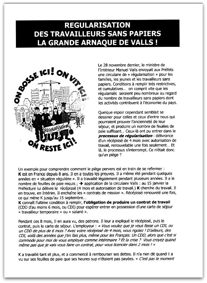 Régularisation des sans-papiers : la grande arnaque de Valls ! (verso) Appel à manifestation du CTSP37 ce vendredi 13 septembre 2013 à 17h place Anatole France.