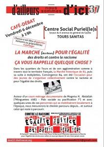 Affiche Café-débat 6 décembre 19h au Centre Social du Sanitas