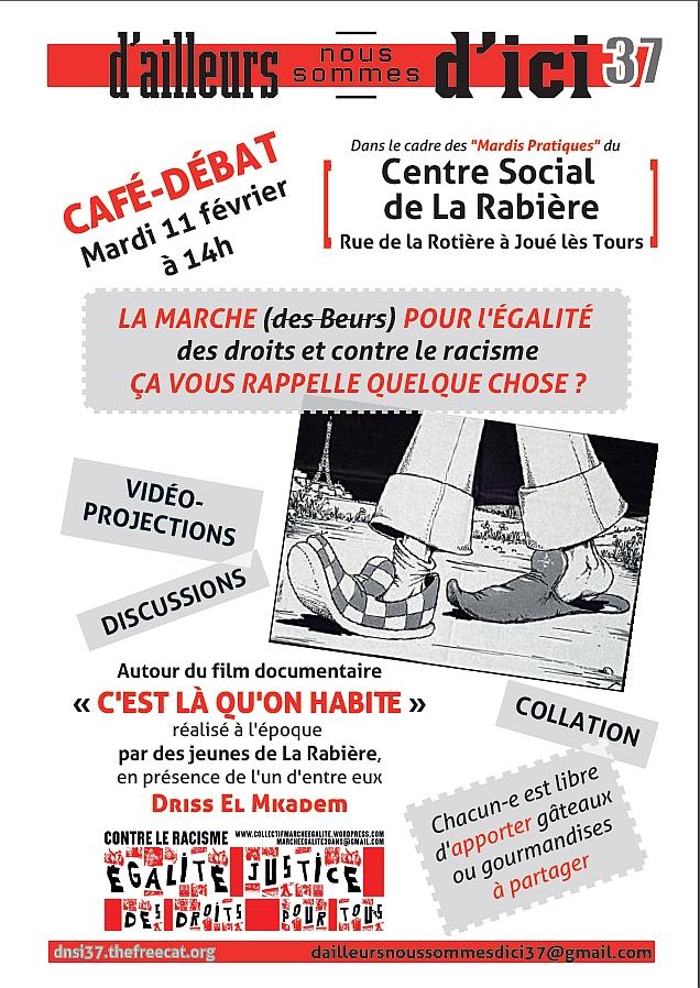Image affiche café-débat égalité des droits 11 février Centre Social de La Rabière