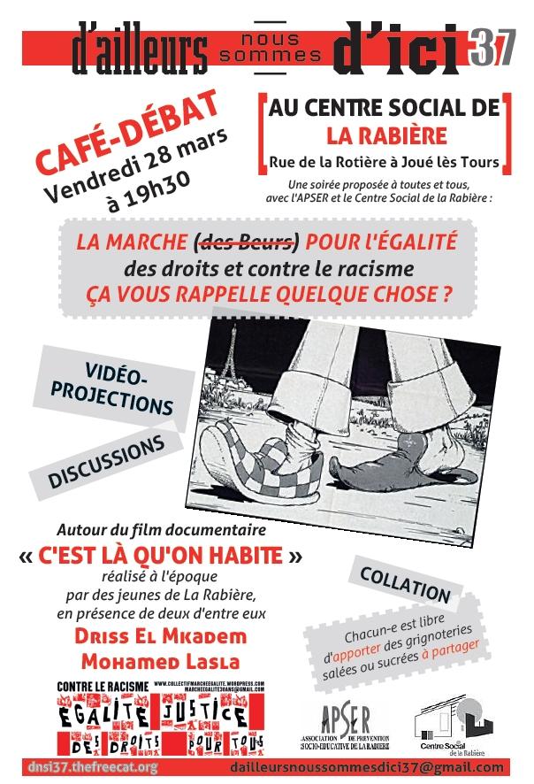 """Café-débat """"égalité des droits et justice pour tou-te-s"""" 28 mars Centre Social de la Rabière"""