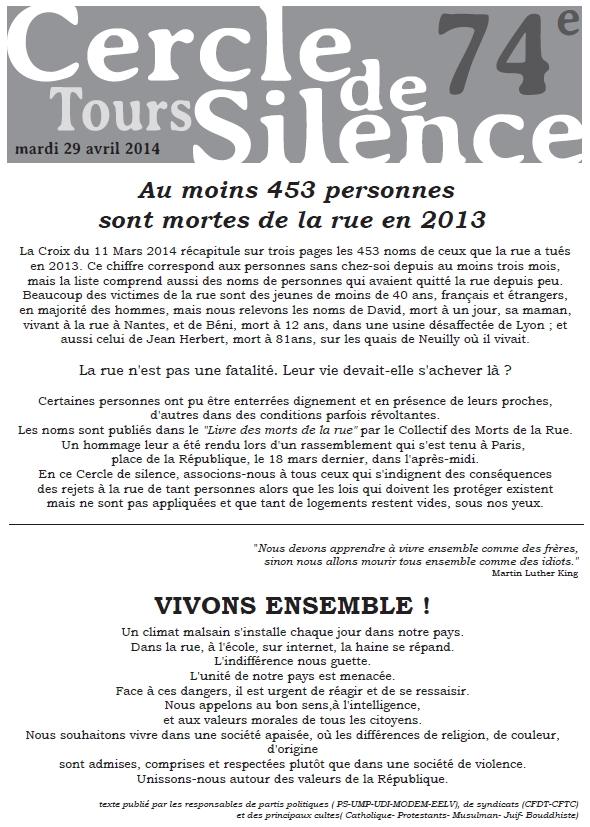 Bulletin 6 Cercle de Silence de Tours 1