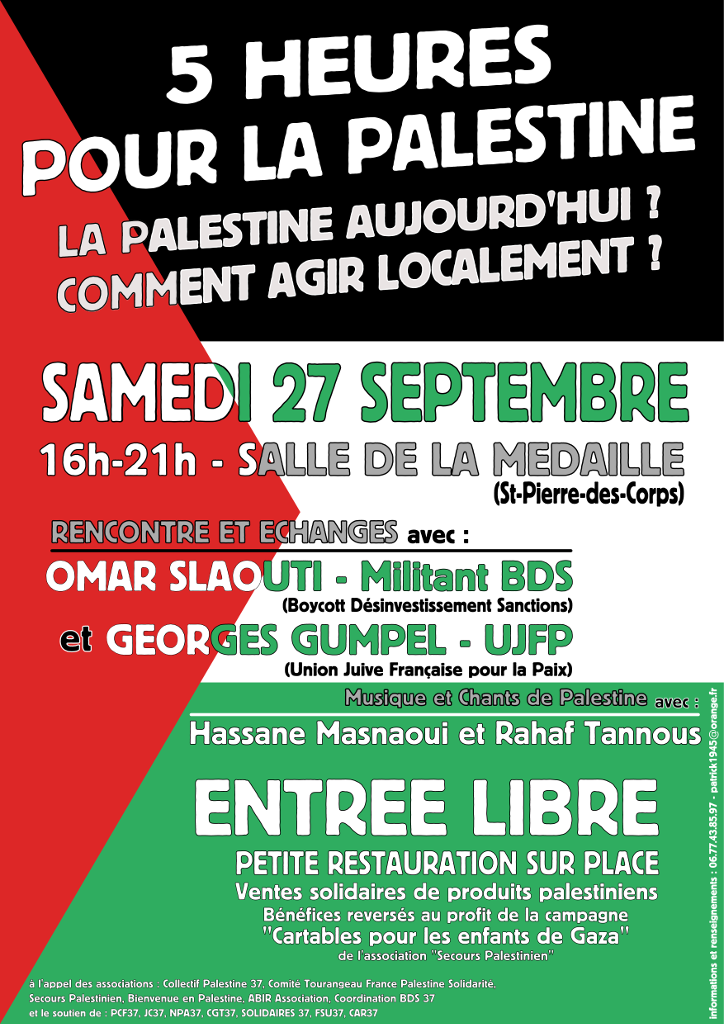 Affiche - 5h pour la Palestine - 1024