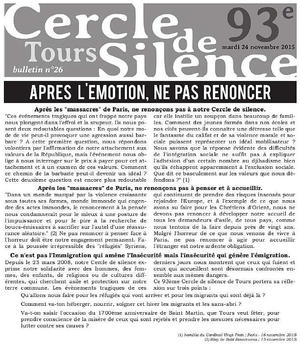 Bulletin 26 Cercle de Silence de Tours extrait 1ère Page