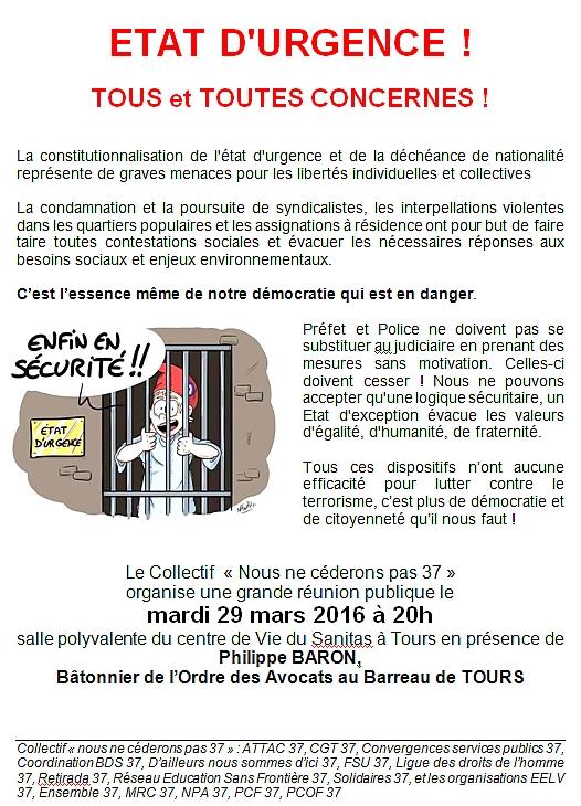 Flyer Réunion Publique Nous Ne Cèderons Pas Tours 29 mars 2016