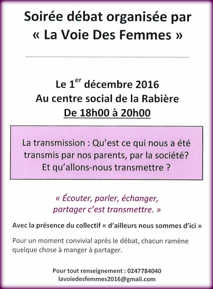 Flyer : Soirée Débat sur la Transmission organisée par La Voie Des Femmes ce jeudi 1er décembre de 18h à 20h au Centre Social de La Rabière