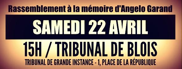 Rassemblement à la mémoire d'Angelo samedi 22 avril 15h devant le tribunal de Blois